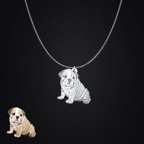 Sterling Silver Personalized Pet Photo Silhouette Pendant Necklace