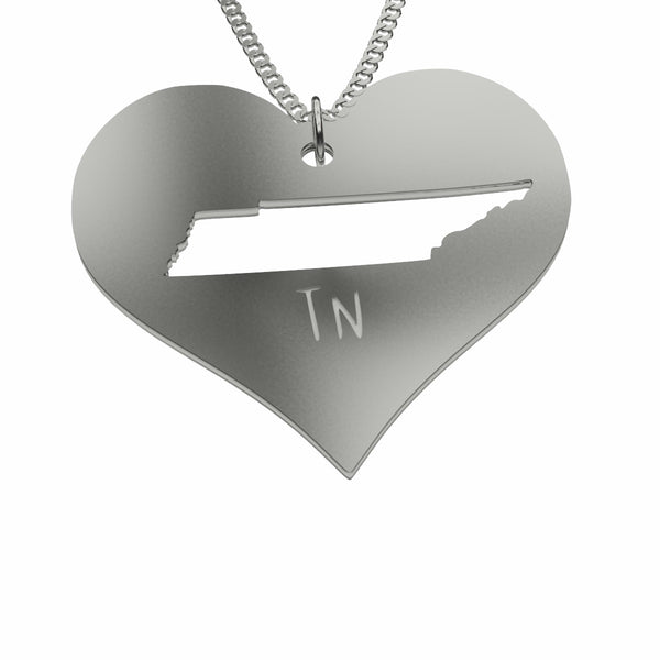 Sterling Silver Tennessee in My Heart Necklace Pendant Necklace