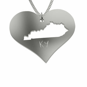 Kentucky Cutout Heart Shaped Sterling Silver Necklace Pendant