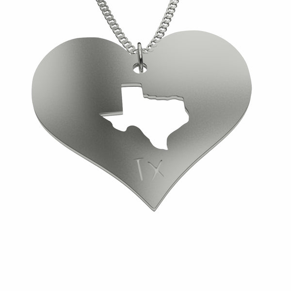 Sterling Silver Texas in My Heart Necklace Pendant Necklace