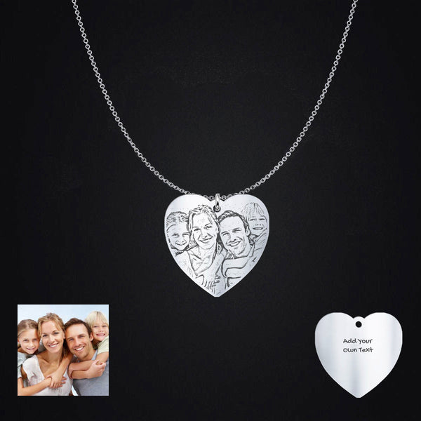 Personalized Sterling Silver Heart Shaped Photo Pendant Necklace Engraving