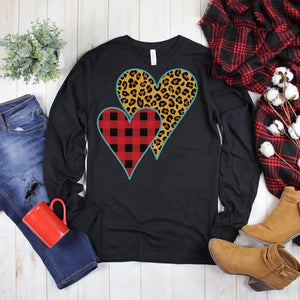 Buffalo Plaid Leopard Print Heart Long Sleeve Tee
