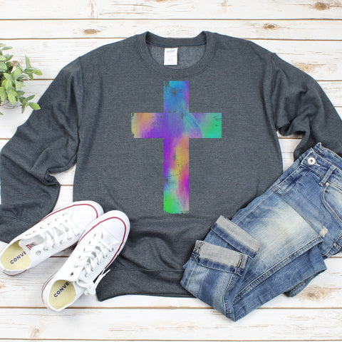 Watercolor Distressed Cross Sweatshirt
