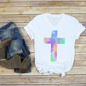 Watercolor Distressed Cross Soft V-Neck Tee