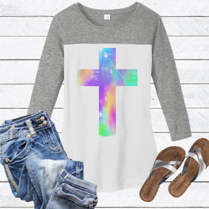 Watercolor Distressed Cross 3/4 Sleeve Tee