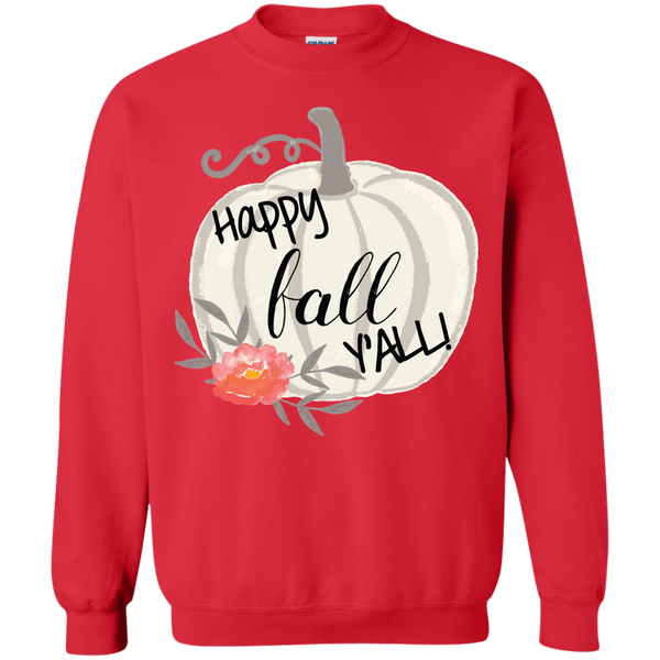 Happy Fall Y'all Watercolor Pumpkin Crewneck Sweatshirt Red