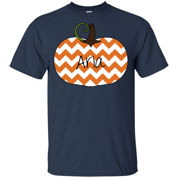 Kids Personalized Chevron Pumpkin Tee Shirt Navy