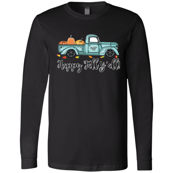 Happy Fall Y'all Pumpkin Farm Truck Long Sleeve Tee Shirt Black