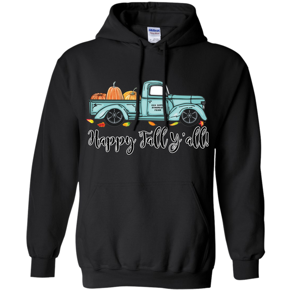 Happy Fall Y'all Pumpkin Farm Truck Hoodie Sweatshirt Black
