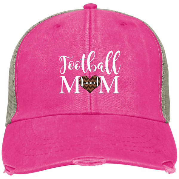 Football Mom Distressed Trucker Hat Cap Heart Pink