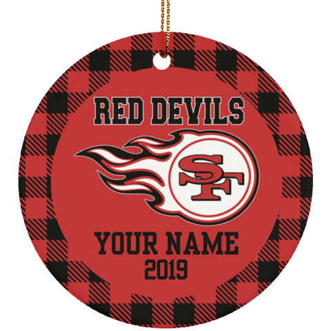 South Fulton Red Devils Buffalo Plaid Personalized Ornament