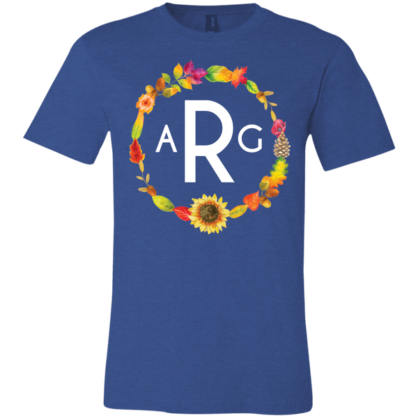 Personalized Fall Wreath Monogram Tee Shirt Blue
