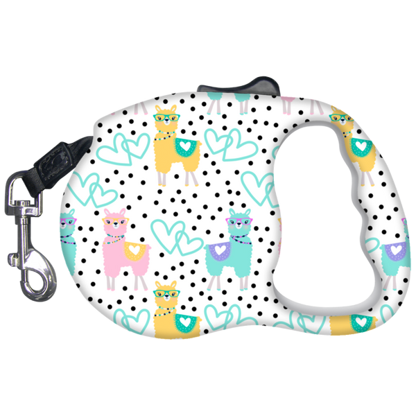 Llama Print Retractable Dog Leash Hearts