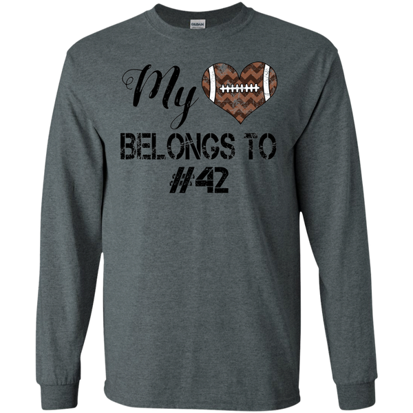 My Heart Belongs To Personalized Football Long Sleeve Tee Dark Grey