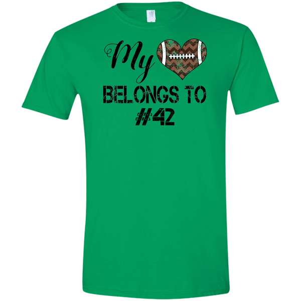 My Heart Belongs to Personalized Football Tee Shirt Green