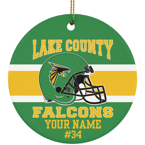 Lake County Falcons Football Personalized Ornament