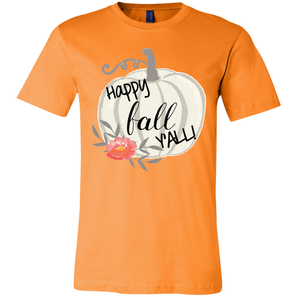 Happy Fall Y'all Watercolor Pumpkin Soft Tee Shirt Orange