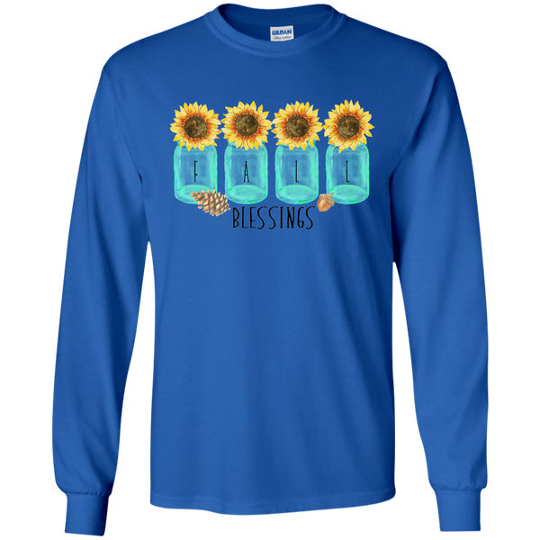 Mason Jar Sunflowers Fall Blessings Long Sleeve Tee Shirt Blue