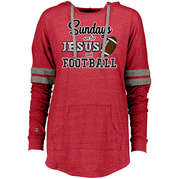 Sundays are for Jesus and Football Long Sleeve Raglan Hoodie Red