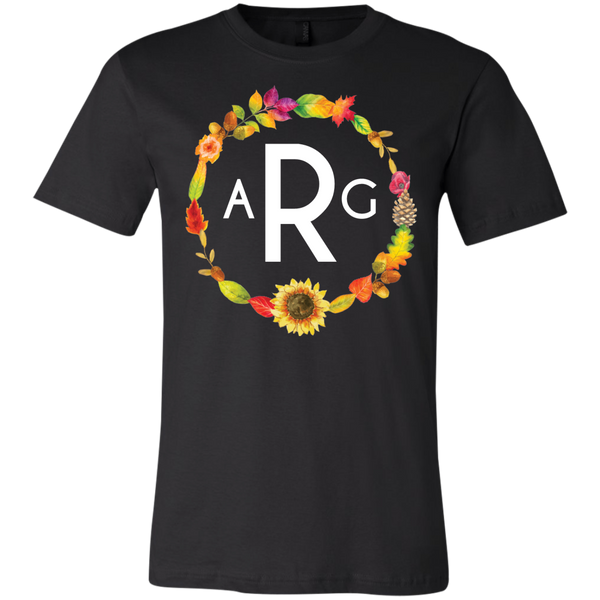 Personalized Fall Wreath Monogram Tee Shirt  Black