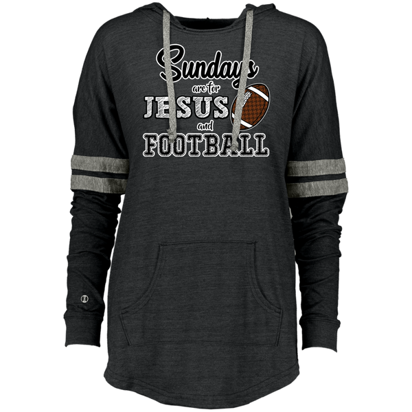 Sundays are for Jesus and Football Long Sleeve Raglan Hoodie Vintage Black