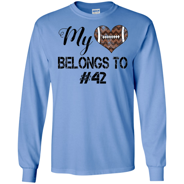 My Heart Belongs To Personalized Football Long Sleeve Tee Carolina Blue