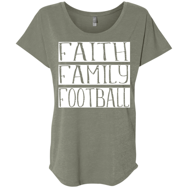Faith Family Football Flowy Dolman sleeve tee venetian grey
