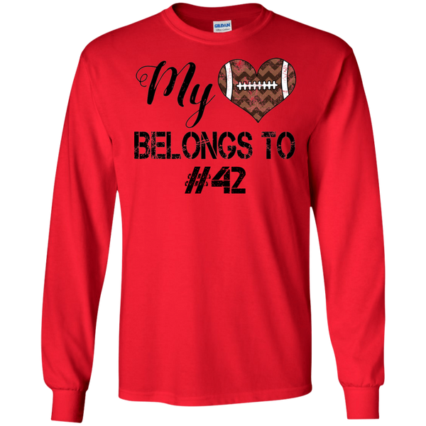 My Heart Belongs To Personalized Football Long Sleeve Tee Red