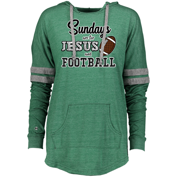 Sundays are for Jesus and Football Long Sleeve Raglan Hoodie Green