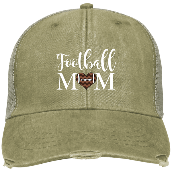 Football Mom Distressed Trucker Hat Cap Heart Khaki