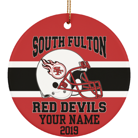 South Fulton Red Devils Personalized Football Ornament