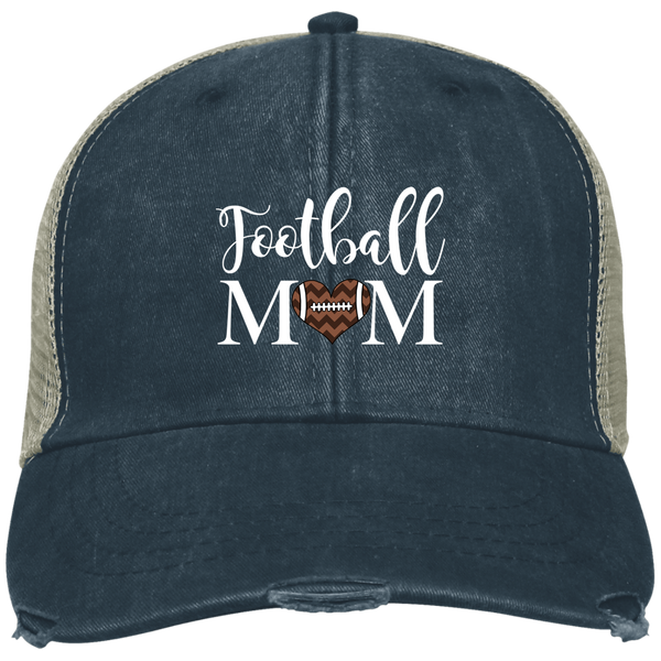 Football Mom Distressed Trucker Hat Cap Heart Navy