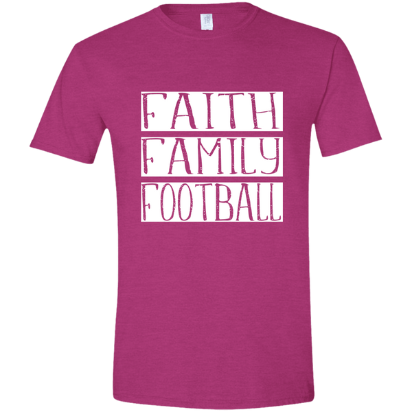 Faith Family Football Soft Tee Shirt Fuchsia