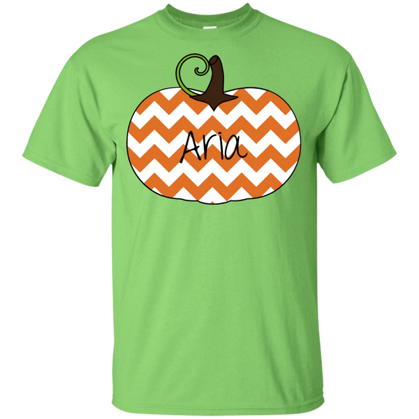 Kids Personalized Chevron Pumpkin Tee Shirt Lime Green