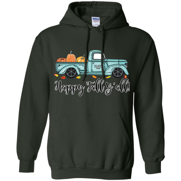 Happy Fall Y'all Pumpkin Farm Truck Hoodie Sweatshirt Forest Green
