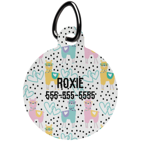 Personalized Llama Print Pet Tag