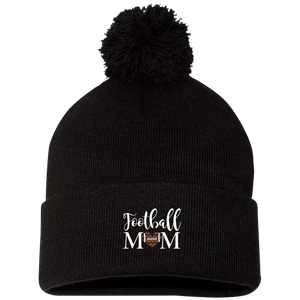 Football Mom Winter Toboggan Pom Pom Hat Cap Heart Black