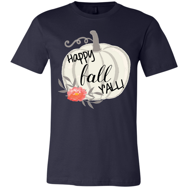 Happy Fall Y'all Watercolor Pumpkin Soft Tee Shirt Navy