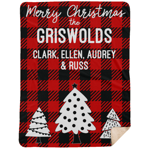 Red 60x80 Buffalo Plaid Personalized Christmas Blanket