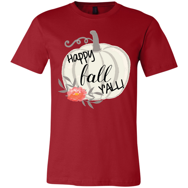 Happy Fall Y'all Watercolor Pumpkin Soft Tee Shirt Red