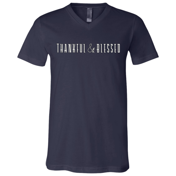 Thankful and Blessed Soft V-Neck Tee Shirt Navy