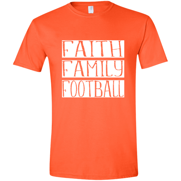 Faith Family Football Soft Tee Shirt Orange