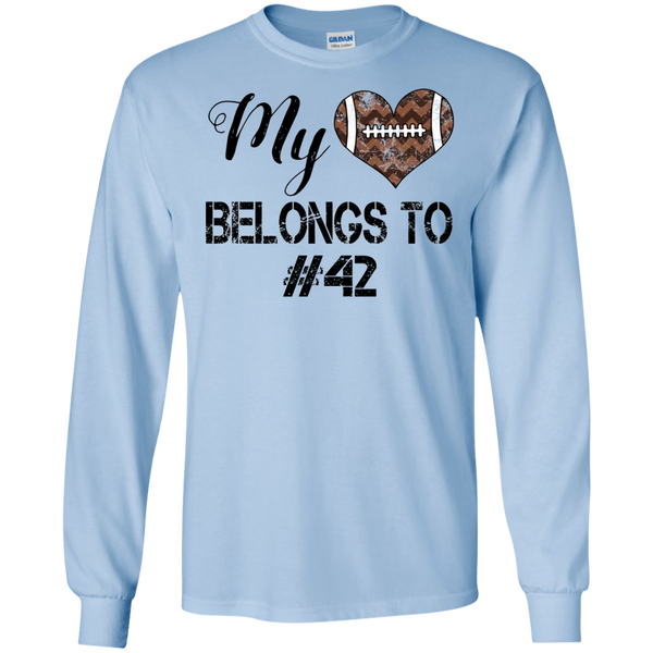 My Heart Belongs To Personalized Football Long Sleeve Tee Light Blue