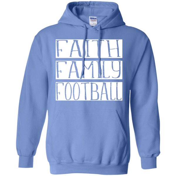 Faith Family Football Hoodie Sweatshirt Carolina Blue