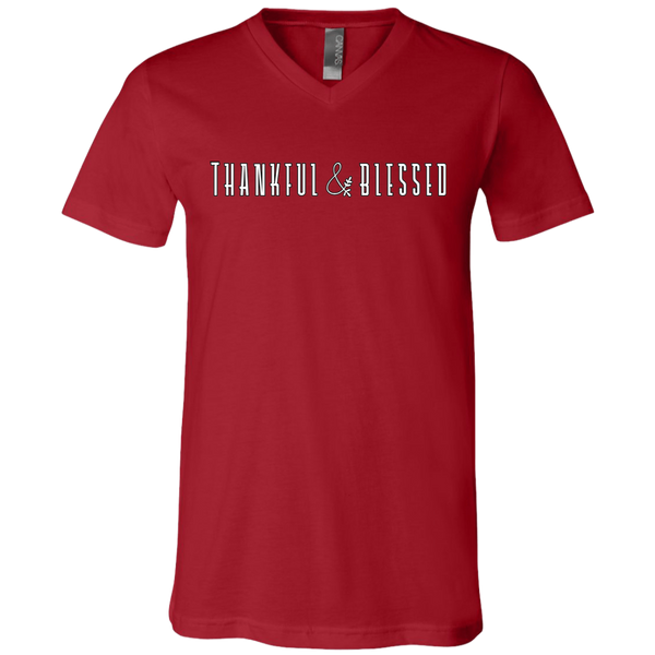 Thankful and Blessed Soft V-Neck Tee Shirt Red