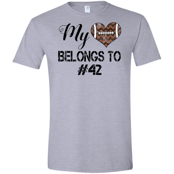 My Heart Belongs to Personalized Football Tee Shirt Grey