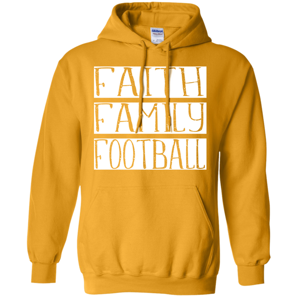 Faith Family Football Hoodie Sweatshirt Gold