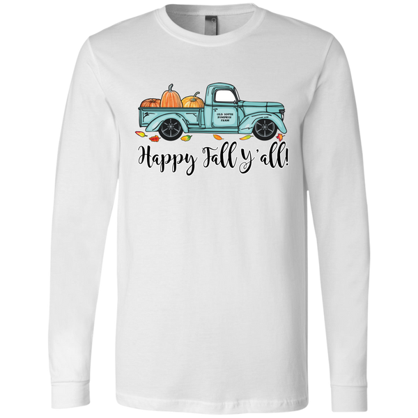 Happy Fall Y'all Pumpkin Farm Truck Long Sleeve Tee Shirt White
