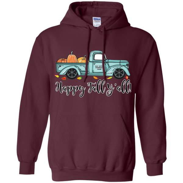 Happy Fall Y'all Pumpkin Farm Truck Hoodie Sweatshirt Maroon