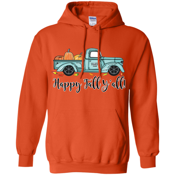 Happy Fall Y'all Pumpkin Farm Truck Hoodie Sweatshirt Orange